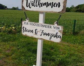 Willkommensständer, Wegweiser (Hochzeit) Variante7 Hochzeit/Vintage/Boho/individuell/Handgemacht/Türschild