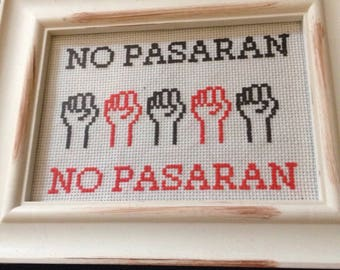 No Pasaran Completed Cross Stitch