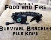 Food and Fire Survival Bracelet 5 Plus Knife; 10-in-1 survival kit; flint firestarter, compass, whistle, knife paracord bracelet