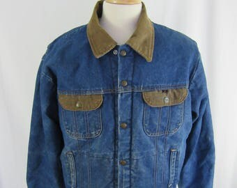 Vintage 80s Key Imperial Sherpa Lined Denim Button Up Coat