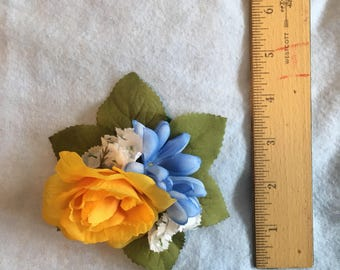 Yellow and blue flower hair clip