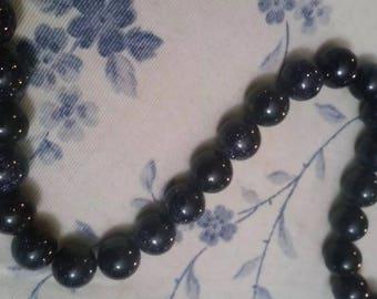 10mm black glitter beads