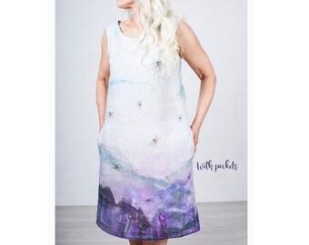 """Linen woman's dress """"Dragonflies"""" - Hand made dress - Summer dress - Purple dress - Linen dress - Loose dress - Pink dress"""