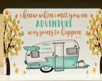 New - Happy Camper Metal Sign - Camping Decor -Camping Quote Sign - Couples - Home Decor