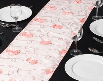 14 X 108 In. Rosette Sequin Table Runner Blush Pink