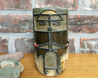 Mid century figurative art pottery vase, Italy