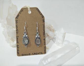Rainbow Moonstone Sterling Silver Drop Earrings / Boho Crystal