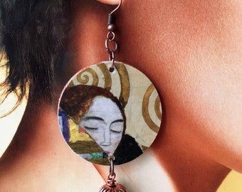 Gustav KLIMT, hard stone paper earrings, hug, tree of life, artistic earrings