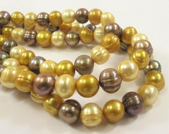 8-9 mm Multi Color Potato Freshwater Pearl Beads, Mixed Color Potato Pearls, Genuine Cultured Freshwater Pearl Beads (552-PMIX0809)