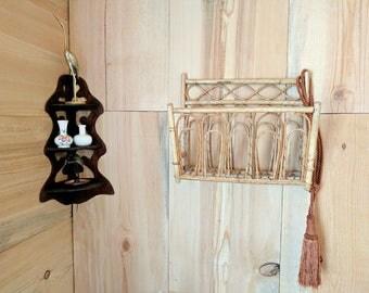 rattan magazine holder | bamboo wall rack