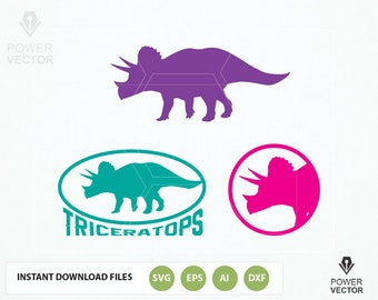 Triceratops, Dinosaur, dino SVG, PNG, DXF files. Triceratops vinyl cut file. Triceratops clip art. Triceratops Logo Vector Icon Iron on File