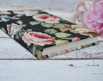 Vintage fabric covered notebook A5, Black floral journal, unlined notebook, A5 sketchbook, floral notebook, Vintage notebook, floral journal