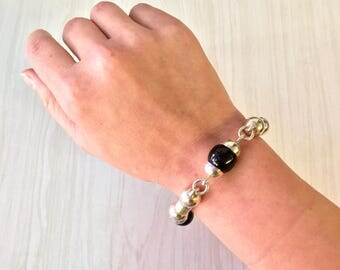 Vintage Sterling Silver and Black Onyx Bracelet | Black Onyx Beads | 925 Jewelry | Gift for Dad | Holiday Gift Idea | Vintage Silver Jewelry