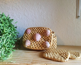 Vintage Woven Straw Coasters in Basket Container with Seashells