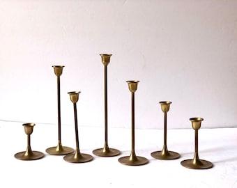 Vintage Brass Graduated Tulip Candleholders Set of 7