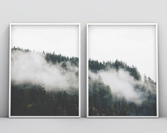 2 Piece Fog Forest, 2 Piece Forest Print, Minimalist Forest, White and Green Wall Art, Set of 2, Modern Forest Print, Misty, Fog Forest Art