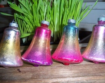 Vintage Christmas 1950's Shiny Brite Hand Blown Ombre Mercury Glass Bells Ornaments Set of Four Pink Blue Gold Silver