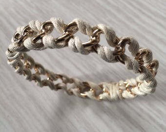 White and gold wide link bangle bracelet a'la Coco Channel