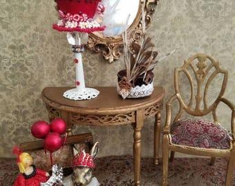 Miniature dollhouse red silk brocade chair, 1:12 scale