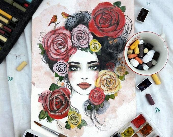 Tea Lady ORIGINAL painting by Tatiana Boiko watercolor art, wall hanging, wall art, tea, lemon painting, girl painting, flowers, Russian art