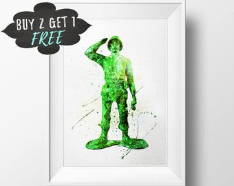 Toy Story Art Print Toy Story Poster, Soldier The Green Army Men Toy Story Wall Art Nursery Decor, Toy Story Birthday Party Baby Shower