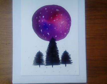 Watercolour galaxy with trees