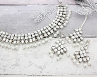 Silver Kundan Pearl Indian Bollywood Choker Necklace Tikka & Earring Set Bridal Wedding