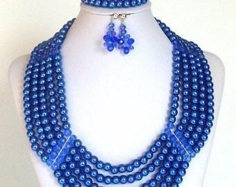 Handmade, Beaded, Jewelry, Blue Necklace, Jewelry Necklace, Beaded Necklace, Jewelry Set, Necklace, Earrings, Bracelet