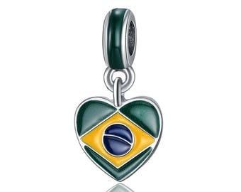 Brazil Flag Charm - Brazil Charm - Brazil Heart Charm - I Love Brazil Charm  - Brazil Bead - Fits all Charm Bracelets