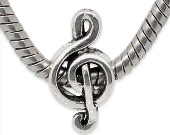 Silver Music Note Charm - Music Charm - Music Love Charm - Music Note Charm  - Music Note Bead - Fits all Charm Bracelets