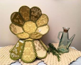 Fabric and Crochet Bowls, Retro, Boho Style Large Bowls, Green, Yellow & Cream