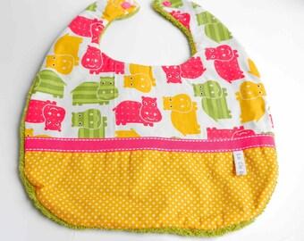 "Double fabric baby bib Terry ""hippo"""
