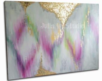 "Large canvas art, Modern Art, Gold painting, Original canvas art, Gold leaf, Abstract Painting, 40""(W)x30""(H)"