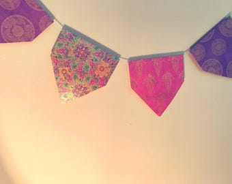 Bohemian Squared Point Bunting (Pink & Purple)