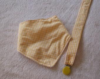 bandana and chupetero vichy yellow Pack