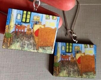Miniature Painitings Vincent Van Gogh, art earrings