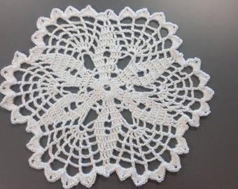 White Floral Crochet Doily | Doily