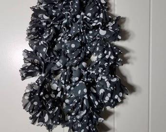 Black and white polkadot scarf