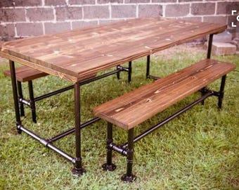 Rustic Industrial Wood Table