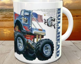 Bullhead RC Coffee Mug with optional Keychain, gift for RC lover, RC Car Coffee Mug, Gift for Him, Radio Controlled Car Mug, rc car gift