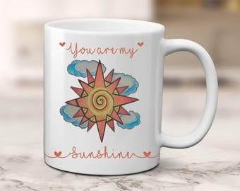 Sunshine Coffee Mug, Sunshine Coffee Mug, Original Art, Gift For Mom, Tattoo Design, My Sunshine Coffee mug, Gift from Child, Gift to child