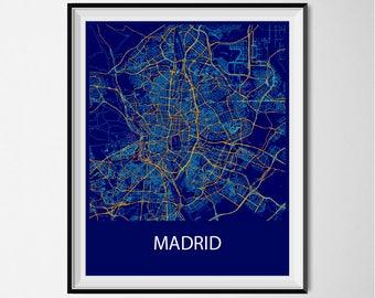 Madrid Map Poster Print - Night