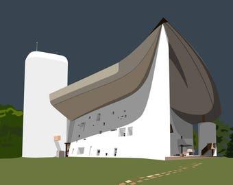 Le Corbusier Notre Dame du Haut fine art giclée print