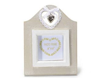 Wooden photo frame with carving, lace and metal heart