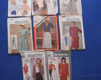 Lot of 8 UNCUT 80's Simplicity McCalls Butterick Sewing patterns Vintage 1980's Patterns