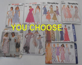 Your Choice 90's Gown Prom Formal Dress Sewing Patterns Simplicity McCall's Butterick 7143 7659 7275 9030 P212 4189 5368 5358