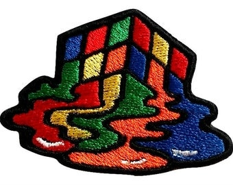 Melting Rubik Cube Patches Embroidered Iron On Bag Jeans Jacket Badge Applique