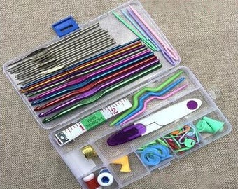 Hand Knitting 22 Crochet Hooks Knitting Gaget Tool Twine Needle Crochet Scissors Crochet Hook Needles Set E