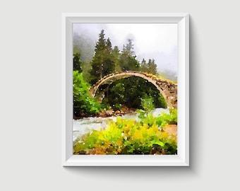 Stone Bridge Rize Uzungol Turkey Watercolor Painting Art Printable Q152