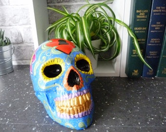 Sugar skull, hand painted skull, pretty skull, day of the dead skull, colourful skull, plaster skull, skull lovers, faux human skull